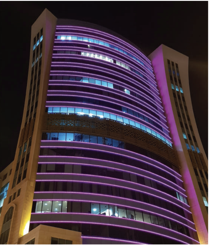 Zamil Tower in Bahrain Lit in Pink in Support of Breast Cancer Awareness Month