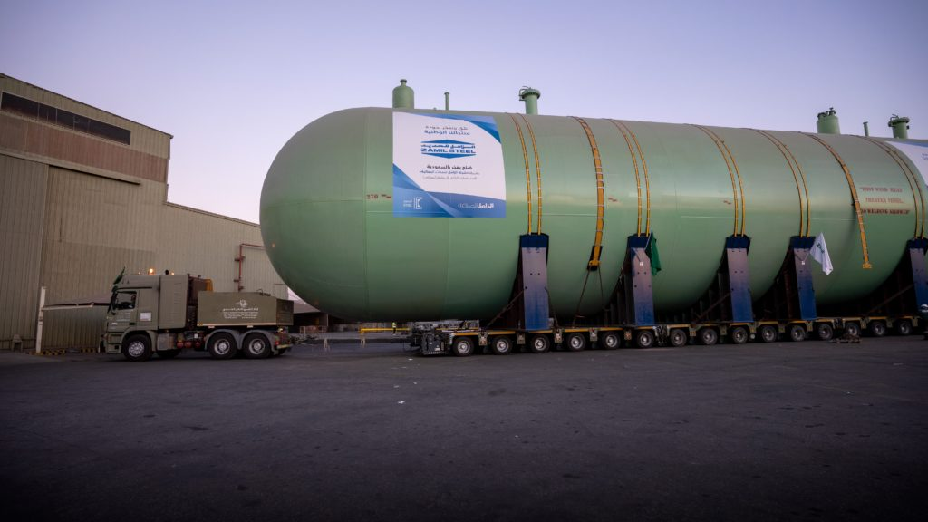 Zamil Steel - Mounted one of the Largest Gas Tank (100% Saudi)
