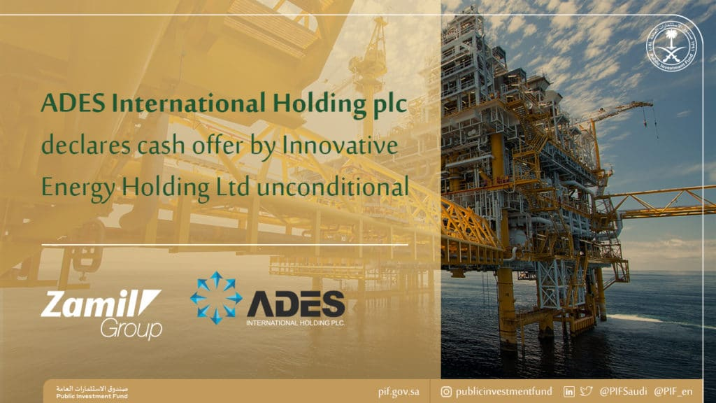 ADES International Holding PLC accepts cash offer by Innovative Energy Holding Ltd, Zamil Group Holding and Public Investment Fund